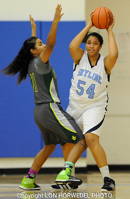 Skyline vs Huron girl's varsity high school basketball at Skyline High School, Wednesday, December 17, 2014.