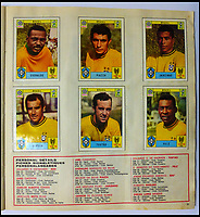 BNPS.co.uk (01202 558833)<br /> Pic: BerkshireAuctionRooms/BNPS<br /> <br /> Team of legends -  the victorious Brazil squad, including Pele, Jairzinho and Carlos Alberto...<br /> <br /> A schoolboy's precious pennies have turned into &pound;1200 as a complete Panini sticker album from the legendary 1970 World Cup has emerged for auction.<br /> <br /> Not only did Mexico 70 give rise to some of the most famous World Cup moments of all time, it also launched the Panini brothers as a global brand and led to frantic playground swapping up and down Britain.<br /> <br /> The tournament held 47 years ago is often cited as the greatest World Cup. With 'the most beautiful goal of all time', Gordon Bank's save, Gerd Muller up front for Germany and Bobby Moore v Pele the tournament had everything.<br /> <br /> The complete album is being sold by Berkshire Auction Rooms on Saturday.