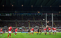 Kieran Read of New Zealand rises high to win lineout ball. Rugby World Cup Pool C match between New Zealand and Tonga on October 9, 2015 at St James' Park in Newcastle, England. Photo by: Patrick Khachfe / Onside Images