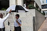 Private security guards stand watch outside the Wells Fargo Center on Sunday, September 2, 2012 in Charlotte, NC.