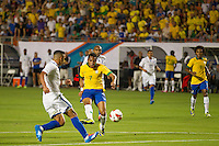 Miami, FL - Saturday, Nov 16, 2013: Brazil vs Honduras during an international friendly at Miami's Sun Life Stadium. Brazilian Robinho (7) shoots from just outside of the box and almost score.