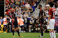 David Beckham (23) of the MLS All-Stars talks with Thierry Henry (14). Manchester United defeated the MLS All-Stars 4-0 during the MLS ALL-Star game at Red Bull Arena in Harrison, NJ, on July 27, 2011.
