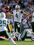 2 November 2008:  New York Jets' quarterback Brett Favre (4) in action against the Buffalo Bills at Ralph Wilson Stadium in Orchard Park, NY. The Jets defeated the Bills 26-17 improving their record to 5 and 3 for the season...Mandatory Photo Credit: Ed Wolfstein Photo