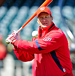 4 March 2010: Washington Nationals' manager Jim Riggleman warms up his infielders prior to the Nationals-Astros Grapefruit League Opening game at Osceola County Stadium in Kissimmee, Florida. The Astros defeated the Nationals split-squad 15-5 in Spring Training action. Mandatory Credit: Ed Wolfstein Photo