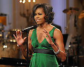 Washington, D.C. - February 25, 2009 -- First lady Michelle Obama makes opening remarks as she and United States President Barack Obama host &quot;Stevie Wonder In Performance at the White House: The Library of Congress Gershwin Prize&quot; to showcase an evening of celebration at the White House in honor of musician Stevie Wonder's receipt of the Library of Congress Gershwin Prize for Popular Song in the East Room of the White House in Washington, D.C. on Wednesday, February 25, 2009..Credit: Ron Sachs / Pool via CNP