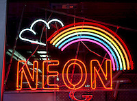 NEON SIGN - RAINBOW<br /> Mixtures of neon and other gases emit bright colors when excited by an electric discharge.