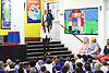 Sadiq Khan &amp; Labour candidate Dr Rosena Allin-Khan visit a school assembly at Trinity St Mary's Primary School in Balham, London, Great Britain where Dr Rosena was a pupil. <br /> 6th June 2016 <br /> <br /> School assembly followed by a general Q&amp;A &amp; talking about a new commitment to &lsquo;Cleaner Walking Routes to School&rsquo;.<br /> <br /> Sadiq Khan <br /> Mayor of London <br /> <br /> Dr Rosena Allin-Khan <br /> Labour candidate for Tooting by election <br /> <br /> Headmistress <br /> Julie Davy <br /> <br /> the boys that arrived with Sadiq Khan are :<br /> <br /> Rhys Hamilton - age 11 <br /> <br /> David Oyat-Loum-Lubangangeyo<br /> aged 7 <br /> <br /> <br /> Photograph by Elliott Franks <br /> Image licensed to Elliott Franks Photography Services