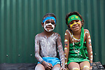 Indigenous boy and girl at the Laura Aboriginal Dance Festival.  Laura, Queensland, Australia