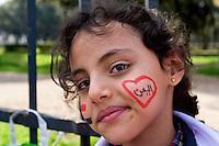 Roma 14 Aprile 2015<br /> La Rete No War insieme  con cittadini dello Yemen, del Libano e della Siria, manifesta davanti all'Ambasciata dell'Arabia Saudita per protestare contro l'intervento militare saudita nello Yemen.<br /> Roma, Italy. 14th April 2015 -- <br /> The No War Network  together with citizens of Yemen, Lebanon and Syria,  rallied in front of the Embassy of Saudi Arabia in Rome to protest against the Saudi military intervention in Yemen.