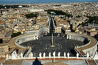 Rome and St Peters Square from top of St. Peter's Basillica Dome.