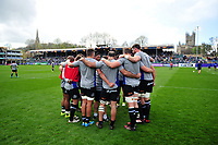 The Bath Rugby forwards huddle together during the pre-match warm-up. European Rugby Challenge Cup Quarter Final, between Bath Rugby and CA Brive on April 1, 2017 at the Recreation Ground in Bath, England. Photo by: Patrick Khachfe / Onside Images