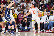 College Park, MD - DEC 29, 2016: Maryland Terrapins guard Destiny Slocum (5) in action during game between No. 1 UConn and the No. 3 Terrapins at the XFINITY Center in College Park, MD. UConn defeated Maryland 87-81. (Photo by Phil Peters/Media Images International)