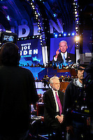 Wolf Blitzer, CNN Correspondent, watches the monitor as democratic Vice Presidential nominee Joseph Biden delivers his acceptance speech. The Democratic National Convention, Pepsi Center, Denver Colorado, August 26, 2008.