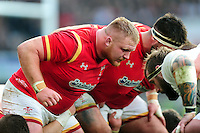 Samson Lee of Wales prepares to scrummage against his opposite number. RBS Six Nations match between England and Wales on March 12, 2016 at Twickenham Stadium in London, England. Photo by: Patrick Khachfe / Onside Images
