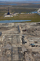 Bovanenkovo ,Yamal Peninsula, Russia, 10/07/2010..An aerial view of well heads under construction on the Gazprom Yamal Bovanenkovo gasfield project.