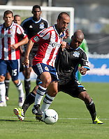 Santa Clara, California - Sunday May 13th, 2012: Nick LaBrocca of Chivas USA is defended by Justin Morrow of San Jose Earthquakes  during a Major League Soccer match at Buck Shaw Stadium