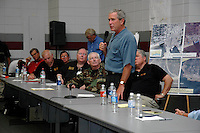 President Bush speaks to elected officeial and representatives from all the Hurricane Katrina affected counties in Mississippi, in Pearlington Ms, Sept. 6,2005.