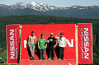 The four best athletes in the slopestyle competititon.The Extremesport Week, Ekstremsportveko, is the worlds largest gathering of adrenalin junkies. In the small town of Voss enthusiasts in a varitety of extreme sports come togheter every summer to compete and play. Norway..©Fredrik Naumann/Felix Features.