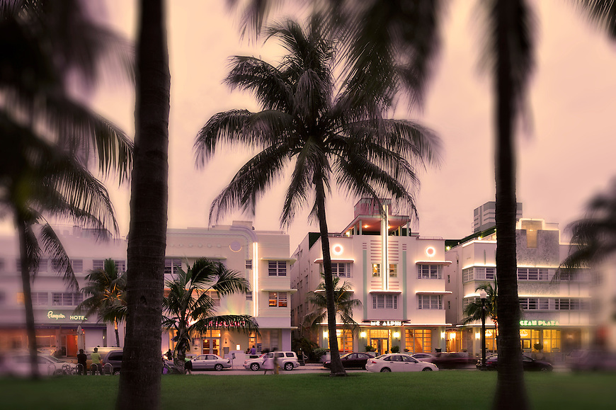 Dusk at Ocean Drive, Miami Beach, Florida,USA