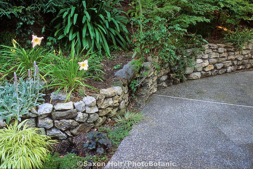 Stone retaining wall.  Design:  Chris Jacobson