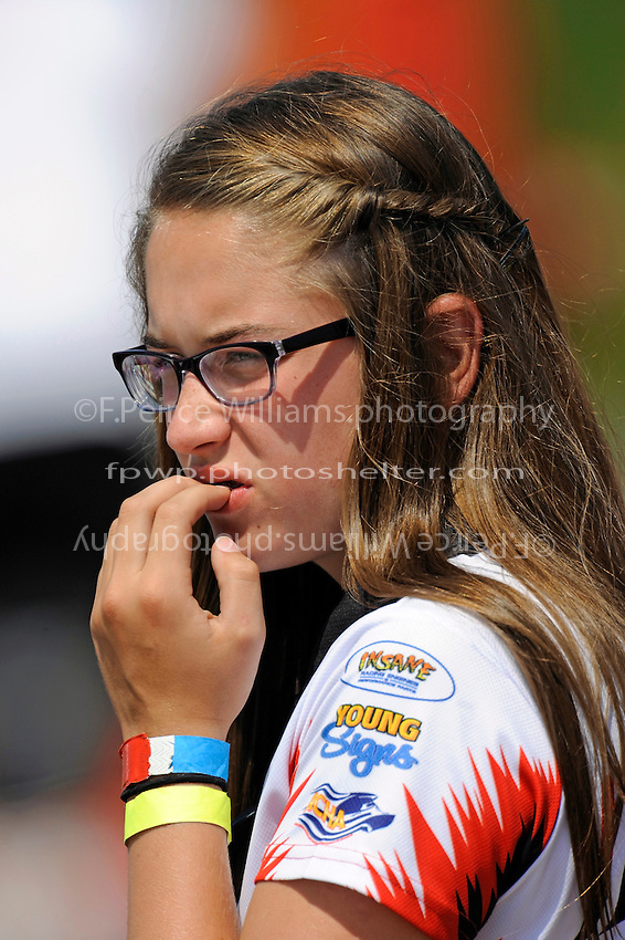 "Amanda Brodie watches nervously as her father Ken Brodie II, GP-50 ""Intensity"" races in the Grand Prix class."