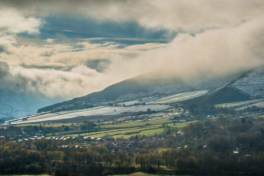 Spring snowfall over Chew Calley, Saddleworth.
