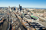 Aerial view of CenturyLink Field and Seattle skyline