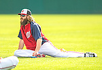 22 February 2013: Washington Nationals' outfielder Jayson Werth stretches out during a full squad Spring Training workout at Space Coast Stadium in Viera, Florida. Mandatory Credit: Ed Wolfstein Photo *** RAW File Available ***