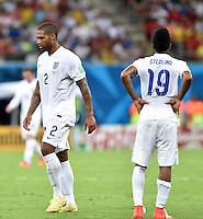 FUSSBALL WM 2014  VORRUNDE    Gruppe D     England - Italien                         14.06.2014 Glen Johnson (li) und Raheem Sterling (re, beide England) sind enttaeuscht