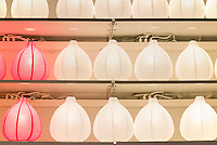 Lamps displayed in a retail store.