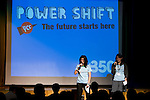 Emma Biermann (l) and Kate Shayler open Powershift UK. The UKYCC PowerShift Conference, held on Oct. 9-12, brought together over 250 young people from across the United Kingdom and the world to discuss climate change. The conference taught them how to  organize, build a social movement and take creative and intelligent action to tackle the climate crisis. Institute of Education, London, United Kingdom (2009 ©Robert vanWaarden)