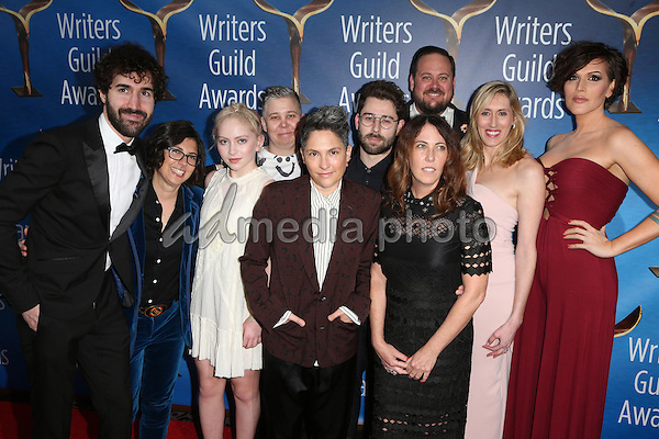 19 February 2017 - Beverly Hills, California - Jill Soloway, Our Lady J, and Transparent team. 2017 Writers Guild Awards L.A. Ceremony held at the Beverly Hilton. Photo Credit: AdMedia