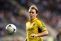 Chad Marshall (14) of the Columbus Crew. The Columbus Crew defeated the Philadelphia Union 2-1 during a Major League Soccer (MLS) match at PPL Park in Chester, PA, on August 29, 2012.