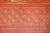 Fatehpur Sikri, Uttar Pradesh, India.  Wall Decoration in Carved Red Sandstone in Diwan-i-Khas (Hall of Private Audience) of Emperor Jalal el-Din Akbar.