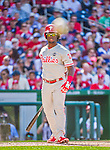 23 May 2015: Philadelphia Phillies outfielder Odubel Herrera watches one go foul towards the outside first base photo position during game action against the Washington Nationals at Nationals Park in Washington, DC. The Phillies defeated the Nationals 8-1 in the second game of their 3-game weekend series. Mandatory Credit: Ed Wolfstein Photo *** RAW (NEF) Image File Available ***