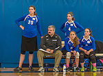 26 October 2014: Yeshiva University Maccabee Head Coach Joseph Agrest watches play against the College of Mount Saint Vincent Dolphins at the Peter Sharp Center, in Riverdale, NY. The Dolphins defeated the Maccabees 3-0 in the NCAA Division III Women's Volleyball Skyline matchup. Mandatory Credit: Ed Wolfstein Photo *** RAW (NEF) Image File Available ***