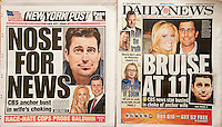 Front pages on Tuesday, February 19, 2013 of the New York Daily News and the New York Post report on the alleged domestic violence between CBS television anchor Rob Morrison and his wife Ashley Morrison in their Darien CT home.  (© Richard B. Levine)