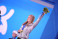 OLYMPICS: SOCHI: Medal Plaza, 09-02-2014, Snowboard, Ladies' Slopestyle, gold medalist Jamie Anderson (USA), ©photo Martin de Jong