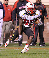 Nov 13, 2010; Charlottesville, VA, USA;  Maryland Terrapins wide receiver Torrey Smith (82) runs with the ball during the 2nd half of the game against the Virginia Cavaliers at Scott Stadium. Maryland won 42-23. Mandatory Credit: Andrew Shurtleff