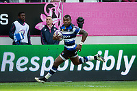 Semesa Rokoduguni of Bath Rugby runs in a try. European Rugby Challenge Cup Semi Final, between Stade Francais and Bath Rugby on April 23, 2017 at the Stade Jean-Bouin in Paris, France. Photo by: Patrick Khachfe / Onside Images