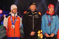 SCHAATSEN: AMSTERDAM: Olympisch Stadion, 28-02-2014, KPN NK Sprint/Allround, Coolste Baan van Nederland, Huldiging Olympische medaillewinnaars, Sjinkie Knegt, Ronald Mulder, Margot Boer, ©foto Martin de Jong