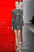 Anastasia walks runway in a ebony and silver geometric beaded sheath dress, from the Reem Acra Fall 2012 Feminine Power collection fashion show, during Mercedes-Benz Fashion Week New York Fall 2012 at Lincoln Center.