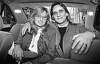 Five years after his release from a UK jail a recently-married Paul Hill is pictured with his wife, Courtney Kennedy, in a taxi in Donegall Street, Belfast, N Ireland in February 1994. Paul Hill is one of the Guildford Four whose convictions were quashed in 1989. His wife is the daughter of US politician, Bobby Kennedy, and a neice of the assasinated President John F Kennedy.  199402001257a<br />