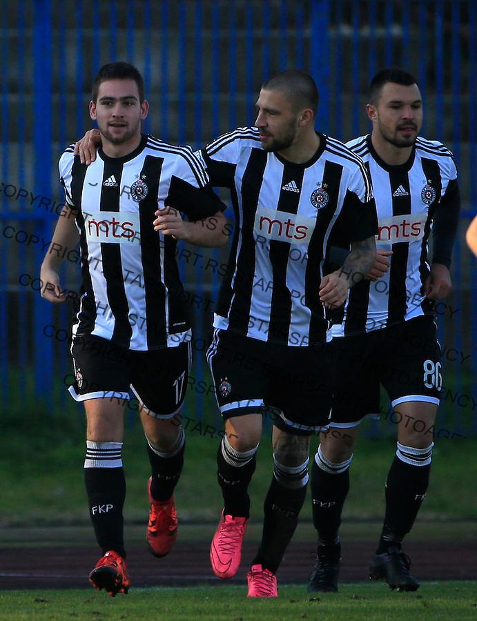 Fudbal Jelen Super League season 2015-2016<br /> Spartak v Partizan<br /> Andrija Zivkovic (L) celebrate the goal with the Ivan Bandalovski<br /> Subotica, 29.11.2015.<br /> foto: Srdjan Stevanovic/Starsportphoto&copy;