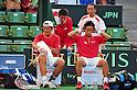 (L to R) Tatsuma Ito (JPN), Kei Nishikori (JPN), Yuichi Sugita (JPN), SEPTEMBER 17, 2011 - Tennis : Davis Cup by BNP Paribas 2011 World Group play-off match Tatsuma Ito/Yuichi Sugita (JPN) 1(5-7 6-3 3-6 6-7)3 Rohan Boppana/Mahesh Bhupathi (IND) at Ariake Colosseum, Tokyo, Japan. (Photo by Jun Tsukida/AFLO SPORT) [0003]