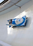 14 December 2006: Claudia Schramm, of Germany, pilots her sled through a turn during a training run in preparation for the World Cup Bobsleigh Competition at the Olympic Sports Complex on Mount Van Hoevenburg  in Lake Placid, New York, USA.&amp;#xA;&amp;#xA;Mandatory Photo credit: Ed Wolfstein Photo<br />