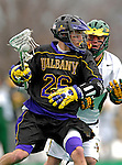 14 April 2007: University of Albany Great Danes' Derek Dale, a Junior from Lake Ronkonkoma, NY, in action against the University of Vermont Catamounts at Moulton Winder Field, in Burlington, Vermont. The Great Danes defeated the Catamounts 14-7...Mandatory Photo Credit: Ed Wolfstein Photo