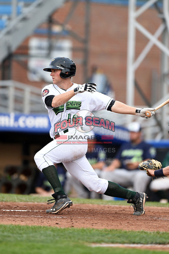 Jamestown Jammers third baseman Chase Simpson (16) at bat during a game against the Vermont Lake Monsters on July 12, 2014 at Russell Diethrick Park in Jamestown, New York.  Jamestown defeated Vermont 3-2.  (Mike Janes/Four Seam Images)
