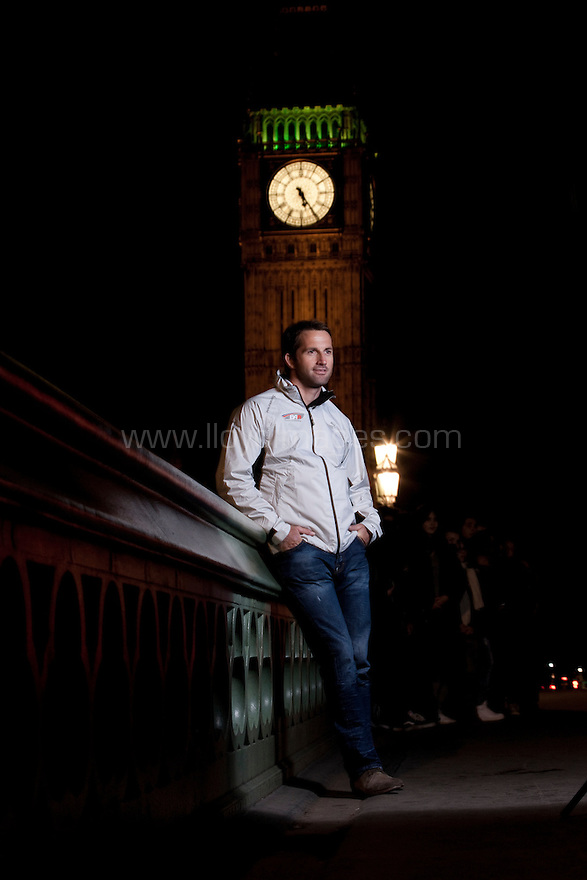 "Ben Ainslie, four time Olympic medallist pictured on Westminster bridge as he launches ""Ben Ainslie Racing"". A new team that will compete in 2012 Americas Cup World Series..Credit: Lloyd Images / BAR"