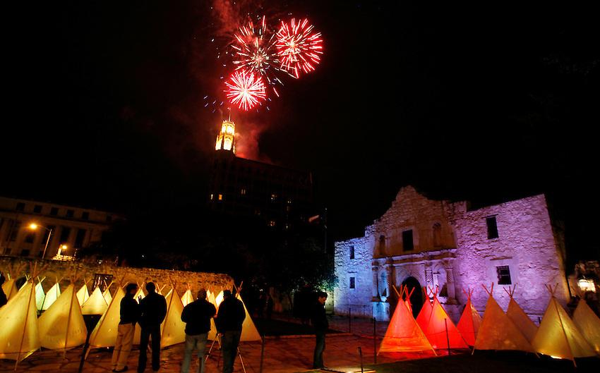 Fireworks explode above the Alamo during Luminaria: Arts Night in San Antonio, Saturday, March 14, 2009. (Darren Abate/pressphotointl.com)